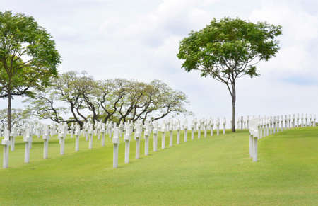 allies: MANILA, PHILIPPINES - APRIL 1, 2016: Manila American Cemetery and Memorial. With 17,206 graves it is the largest WWII cemetery for US personnel.