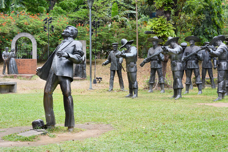 martyrdom: MANILA, PHILIPPINES - APRIL 1, 2016: The martyrdom of Dr. Jose Rizal. The light and sound sculpture diorama is a memorial to the national hero.