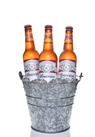 budweiser: IRVINE, CA - MAY 21, 2016: Three Budweiser America Bottles. Limited edition America bottles in an ice bucket