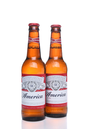 budweiser: IRVINE, CA - MAY 21, 2016: Two Budweiser America Bottles. A limited edition to celebrate America and Budweisers shared values of freedom and authenticity.