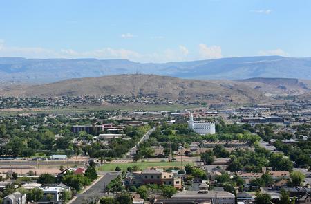 lds: An overview of St George, Utah. Stock Photo