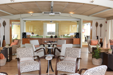 bar lounge: IQUITOS, PERU - OCTOBER 13, 2015: The Amazon Discovery Cruise Ship Bar Lounge. The Luxury Ship explores the Peruvian Amazon.