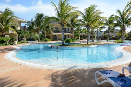 CAYO SANTA MARIA, CUBA - JULY 24, 2016: Hotel Melia Buenavista pool. The hotel is set within a World Biosphere Reserve with untouched coves and three beaches.