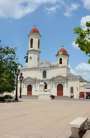 immaculate: CIENFUEGOS, CUBA - JULY 24, 2016: Cathedral of the Immaculate Conception. In 2005 Cienfuegos was listed as a UNESCO World Heritage Site.