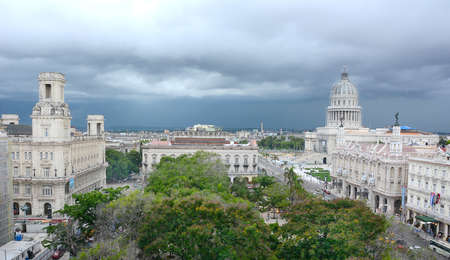 HAVANA, CUBA - JULY 24, 2016: Havana City Overview looking towards the capitol building, with the Gran Teatro in the foreground.
