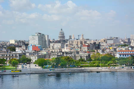 capital building: HAVANA, CUBA - JULY 24, 2016: Havana City Overview from the water looking towards the capitol building. Havana is the capital and largest city in Cuba. Editorial