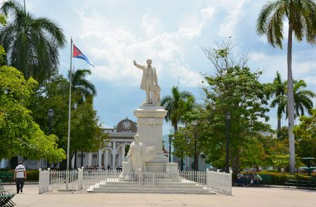 CIENFUEGOS, CUBA - JULY 24, 2016: Jose Marti Square. In the Historic Center of Cienfuegos it was declared a UNESCO World Heritage Site in 2005.