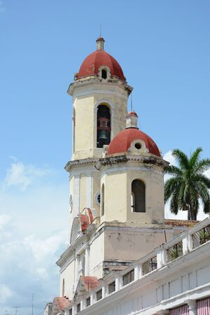 conception: CIENFUEGOS, CUBA - JULY 24, 2016: Cathedral of the Immaculate Conception. In 2005 Cienfuegos was listed as a UNESCO World Heritage Site.