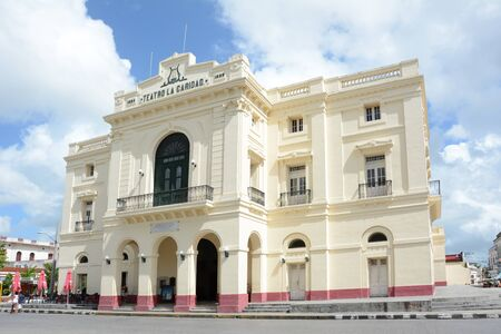 SANTA CLARA, CUBA - JULY 26, 2016: Teatro La Caridad. A national Monument of Cuba was built in 1885 and is one of The Eight Grand Theaters of the Cuban Colonial era.