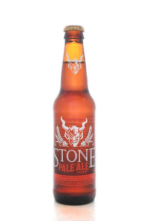 microbrewery: IRVINE, CALIFORNIA - AUGUST 25, 2016: Stone Pale Ale. From the Stone Brewing Company, in Escondido, the largest brewery in Southern California.
