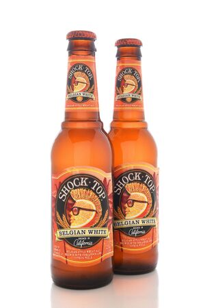 introduced: IRVINE, CALIFORNIA - AUGUST 25, 2016: Shock Top Belgian White. Introduced as a seasonal beer in 2006, it has, since 2007, been available year-round. Editorial