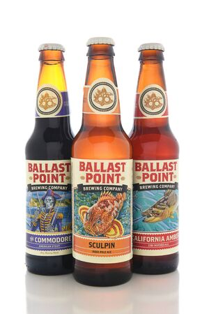 ballast: IRVINE, CALIFORNIA - AUGUST 25, 2016: Ballast Point Beers. Ballast Point, founded in 1996, was the first microdistillery in San Diego since Prohibition.