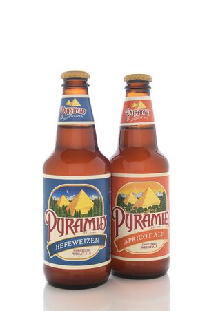 headquartered: IRVINE, CALIFORNIA - AUGUST 25, 2016: Two Pyramid Breweries Ales. Pyramid Breweries, Inc., is a brewing company headquartered in Seattle, Washington. Editorial