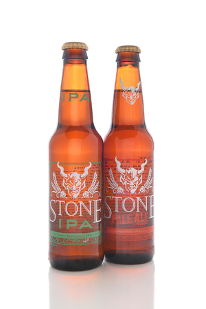 microbrewery: IRVINE, CALIFORNIA - AUGUST 25, 2016: Stone Brewing Company Ales. Stone Brewing is headquartered in Escondido, it is the largest brewery in Southern California. Editorial