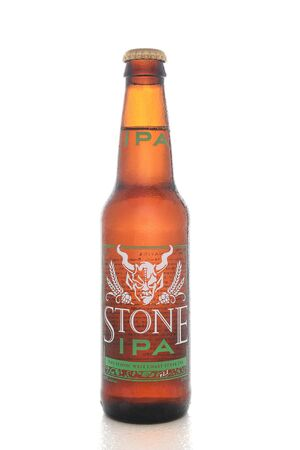 microbrewery: IRVINE, CALIFORNIA - AUGUST 25, 2016: Stone IPA. From the  Stone Brewing Company, in Escondido, the largest brewery in Southern California.