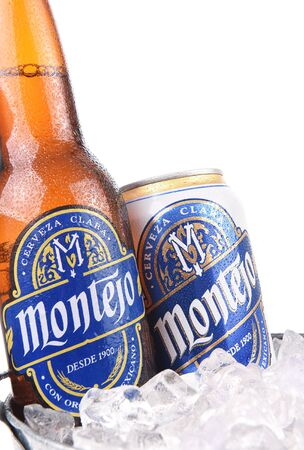 pilsner: IRVINE, CALIFORNIA - AUGUST 26, 2016: Montejo Beer in Ice Bucket. Montejo was founded in 1900 by Jose Ponce Solis in Merida, Yucatan, Mexico. Editorial