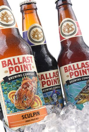 ballast: IRVINE, CALIFORNIA - AUGUST 26, 2016: Ballast Point ales in ice Bucket. Ballast Point was the first microdistillery in San Diego since Prohibition. Editorial