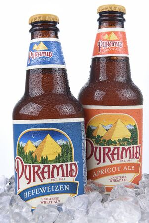 microbrewery: IRVINE, CALIFORNIA - AUGUST 26, 2016: Pyramid Ales in Ice Bucket. Pyramid Breweries, Inc., is a brewing company headquartered in Seattle, Washington. Editorial