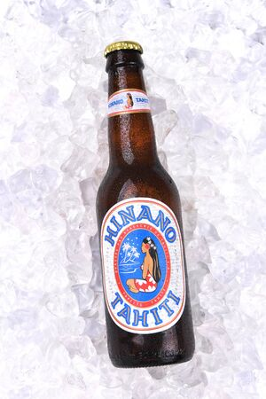IRVINE, CALIFORNIA - AUGUST 26, 2016: Hinano Beer. Brewed on the French Polynesian Island of Tahiti, the name comes from the white flower of the Pandanus plant.