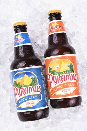 microbrewery: IRVINE, CALIFORNIA - AUGUST 26, 2016: Pyramid Ales on Ice. Pyramid Breweries, Inc., is a brewing company headquartered in Seattle, Washington.