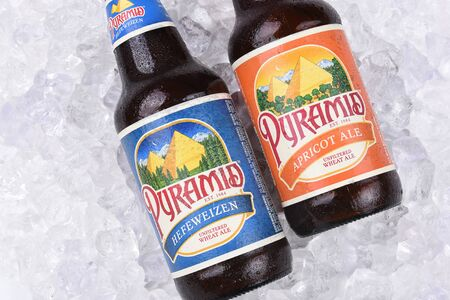 microbrewery: IRVINE, CALIFORNIA - AUGUST 26, 2016: Pyramid Ales on Ice Closeup. Pyramid Breweries, Inc., is a brewing company headquartered in Seattle, Washington. Editorial