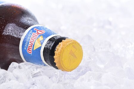 microbrewery: IRVINE, CALIFORNIA - AUGUST 26, 2016: Pyramid Hefeweizen on Ice Closeup. Pyramid Breweries, Inc., is a brewing company headquartered in Seattle, Washington. Editorial