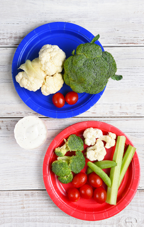 paper plates: Top view of two paper plates with vegetables and Ranch Dip. Vertical format on a rustic wood picnic table. Stock Photo