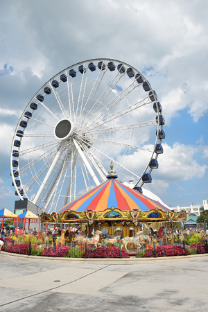 centennial: CHICAGO, ILLINOIS - SEPTEMBER 5, 2016: The new attraction, dubbed the Centennial Wheel in honor of the Lake Michigan landmarks 100th anniversary. Editorial