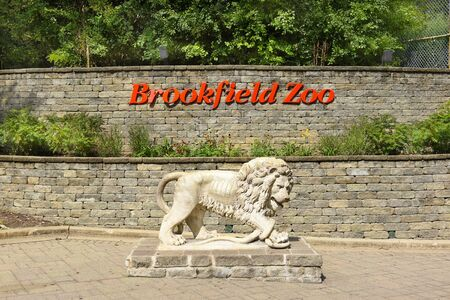 zoological: BROOKFIELD, ILLINOIS - SEPTEMBER 7, 2016: Brookfield Zoo Sign. The zoo, which opened on July 1, 1934, encompassing 216 acres is managed by the Chicago Zoological Society.