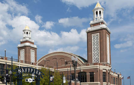beer garden: CHICAGO, ILLINOIS - SEPTEMBER 5, 2016: Navy Pier Beer Garden and Aon Grand Ballroom. Navy Pier is the number one leisure destination in the Midwest with about nine million visitors annually.