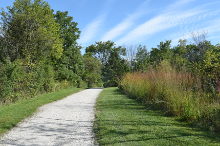 midwest: A dirt hiking and cycling trail running through a wooded midwest park on a bright sunny morning.