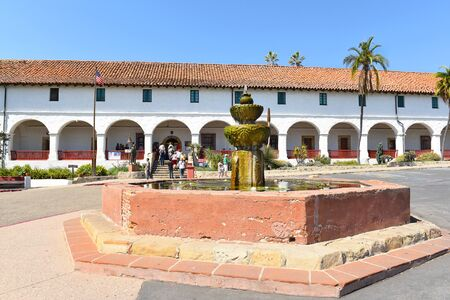 SANTA BARBARA, CALIFORNIA - SEPTEMBER 21, 2016: Museum Entrance Santa Barbara Mission. The 10th mission was founded on 1241786, the feast day of Saint Barbara.
