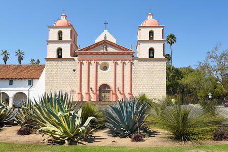 SANTA BARBARA, CALIFORNIA - SEPTEMBER 21, 2016: Cactus garden at the Santa Barbara Mission. Founded in 1786, the present day church was destroyed by an earthquake in 1925 and later restored. Editorial