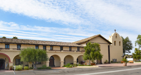 SOLVANG, CALIFORNIA - SEPTEMBER 21, 2016: Mission Santa Ines. Founded on September 17, 1804,  today it serves as a museum as well as a parish church of the Archdiocese of Los Angeles.