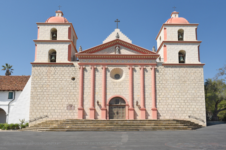 SANTA BARBARA, CALIFORNIA - SEPTEMBER 21, 2016: Santa Barbara Mission. Founded in 1786, the present day church was destroyed by an earthquake in 1925 and later restored.