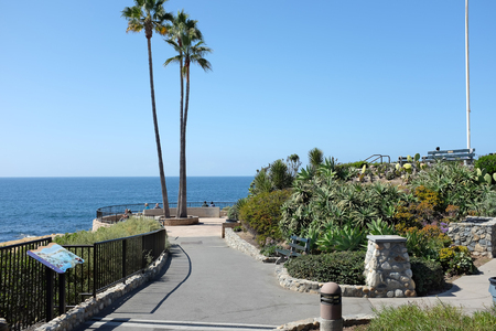 oceanfront: LAGUNA BEACH, CALIFORNIA - OCTOBER 3, 2016: Heisler Park. Stretching along the bluffs this oceanfront park has walking trails, gardens, a marine refuge, picnic tables and barbeques.