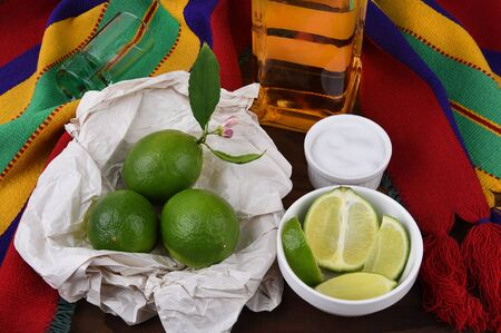 Tequila shot with limes, salt, Mexican blanket. Great for Cinco de Mayo themed projects or Mexican restaurants.