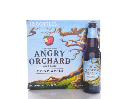 near beer: IRVINE, CALIFORNIA - JANUARY 8, 2017: Angry Orchard Hard Cider. Located near Walden, New York, and owned by the Boston Beer Company. Editorial
