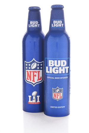 super bowl: IRVINE, CALIFORNIA - JANUARY 13, 2017: Bud Light Aluminum Bottles. The resealable bottles feature the NFL and Super Bowl LI logos.