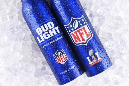 IRVINE, CALIFORNIA - JANUARY 13, 2017: Bud Light Aluminum Bottles in ice. The resealable bottles feature the NFL and Super Bowl LI logos. Editorial
