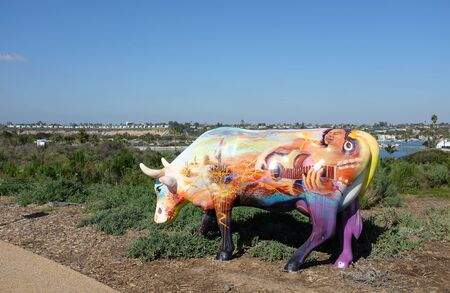 mcdonald: NEWPORT BEACH, CALIFORNIA - JANUARY 16, 2017: Cows4Camp Sculpture. Created by the California Milk Processor Board, they are designed to raise funds for Camp Ronald McDonald. Editorial