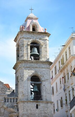 coral bell: HAVANA, CUBA - JULY 24, 2016: The Bell Tower of the Cathedral of the Virgin Mary of the Immaculate Conception. In the Baroque style and made primarily of Coral blocks. Editorial