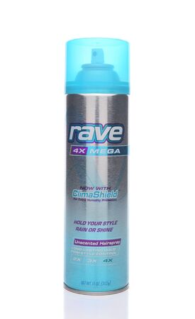 IRVINE, CALIFORNIA - JANUARY 22, 2017: Rave Hairspray. From High Ridge Brands providers of high-quality personal care products at competitive prices.