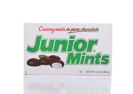 minty: IRVINE, CALIFORNIA - JANUARY 22, 2017: Junior Mints. The candy was introduced in 1949 in Cambridge, Massachusetts by the James O. Welch Company.