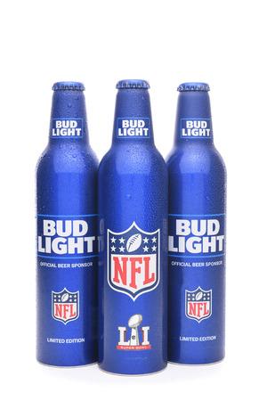 IRVINE, CALIFORNIA - JANUARY 22, 2017: Bud Light Aluminum Bottles. The resealable bottles feature the NFL and Super Bowl LI logos. Editorial