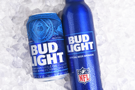IRVINE, CALIFORNIA - JANUARY 22, 2017: Bud Light Aluminum Bottle and Can on ice. The resealable bottle feature the NFL and Super Bowl LI logos.