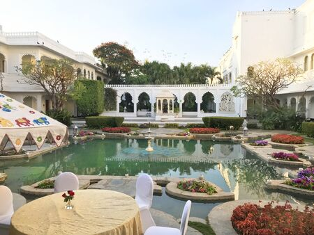 UDAIPUR, INDIA - JANUARY 14, 2017: Taj Lake Palace Hotel Restaurant Courtyard. One of the most recognizable residences in the world, was featured in the film Octopussy. Editorial