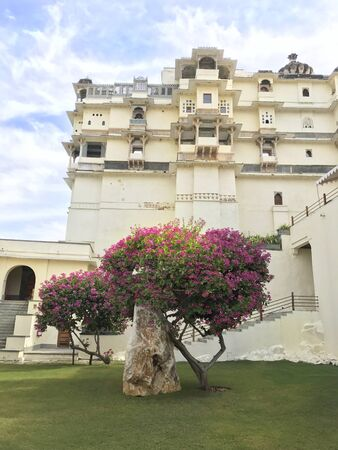 UDAIPUR, INDIA - JANUARY 14, 2017: RAAS Devigarh Hotel. Nestled in the Aravalli Hills of the Udaipur area, an 18th century palace, has spectacular views of the valley.