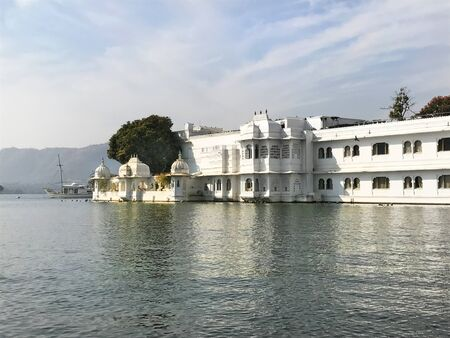 UDAIPUR, INDIA - JANUARY 14, 2017: Taj Lake Palace Hotel. One of the most recognizable residences in the world, was featured in the films, Octopussy and The Jewel in The Crown. Editorial