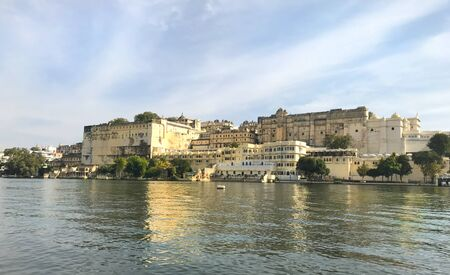 UDAIPUR, INDIA - JANUARY 14, 2017: City Palace. Located on Lake Pichola and built in a flamboyant style, is considered the largest of its type in the state of Rajasthan. Editorial